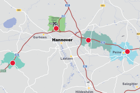 Hanover, lower saxonia, logistics map