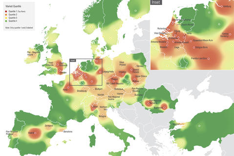 Customer Growth Strategies: Europe's Most desirable logistics locations - Heat map