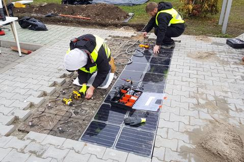 Installation of solar paving tiles at Prologis Park Budapest-Harbor, Hungary
