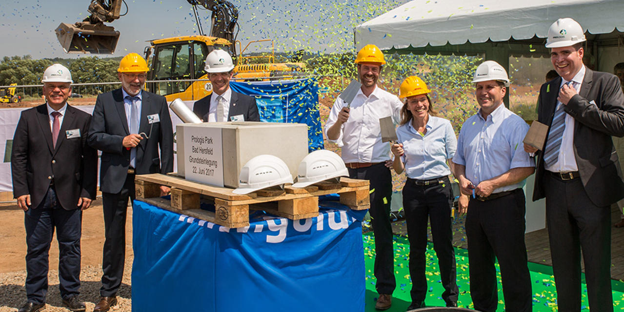 Foundation Stone Ceremony of Prologis Logistics Facility for DHL in Ludwigsau near Bad Hersfeld, Germany